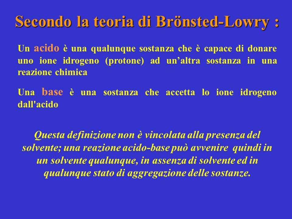 Secondo la teoria di Brönsted-Lowry : Un acido è una qualunque sostanza che è capace di donare uno ione idrogeno (protone) ad un'altra sostanza in una