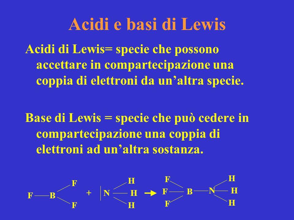Acidi e basi di Lewis Acidi di Lewis= specie che possono accettare in compartecipazione una coppia di elettroni da un'altra specie. Base di Lewis = sp