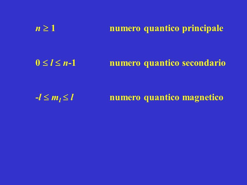 n  1numero quantico principale 0  l  n-1 numero quantico secondario -l  m l  lnumero quantico magnetico