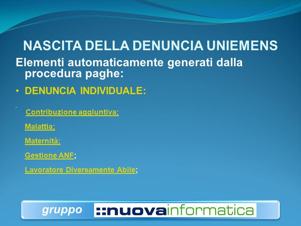 NASCITA DELLA DENUNCIA UNIEMENS Elementi automaticamente generati dalla procedura paghe: DENUNCIA AZIENDALE:.