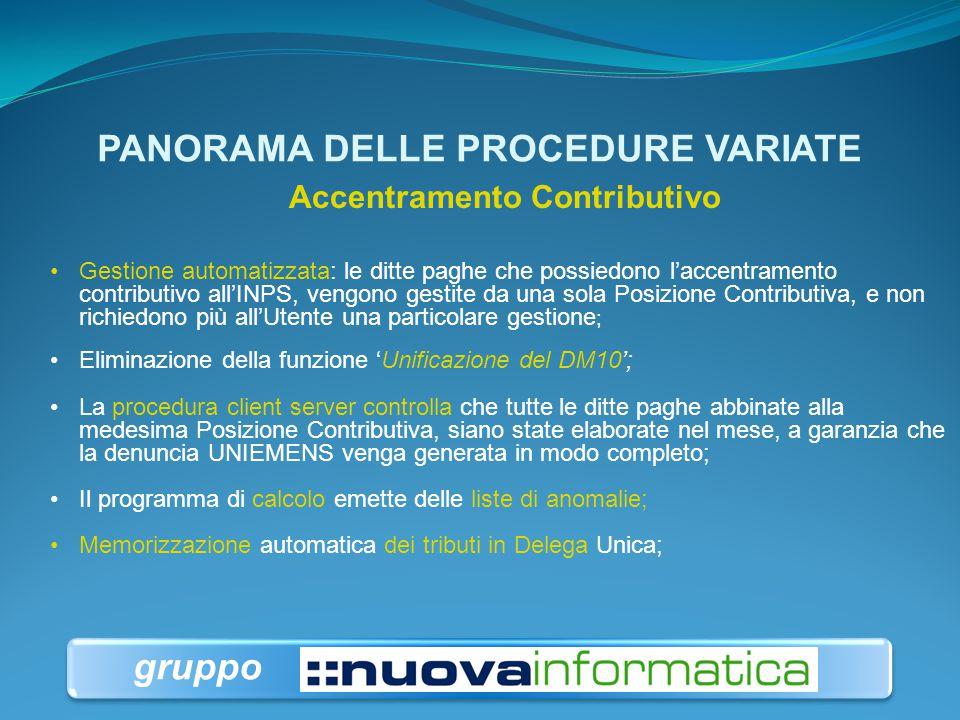 PANORAMA DELLE PROCEDURE VARIATE Accentramento Contributivo; Memorizzazione dei Tributi DM10 in F24; Ripristino delle Ditte;