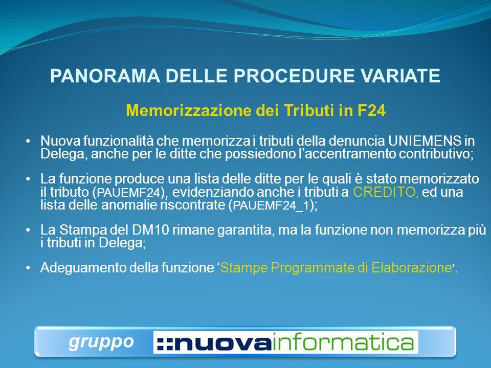PANORAMA DELLE PROCEDURE VARIATE Accentramento Contributivo Gestione automatizzata: le ditte paghe che possiedono l'accentramento contributivo all'INP