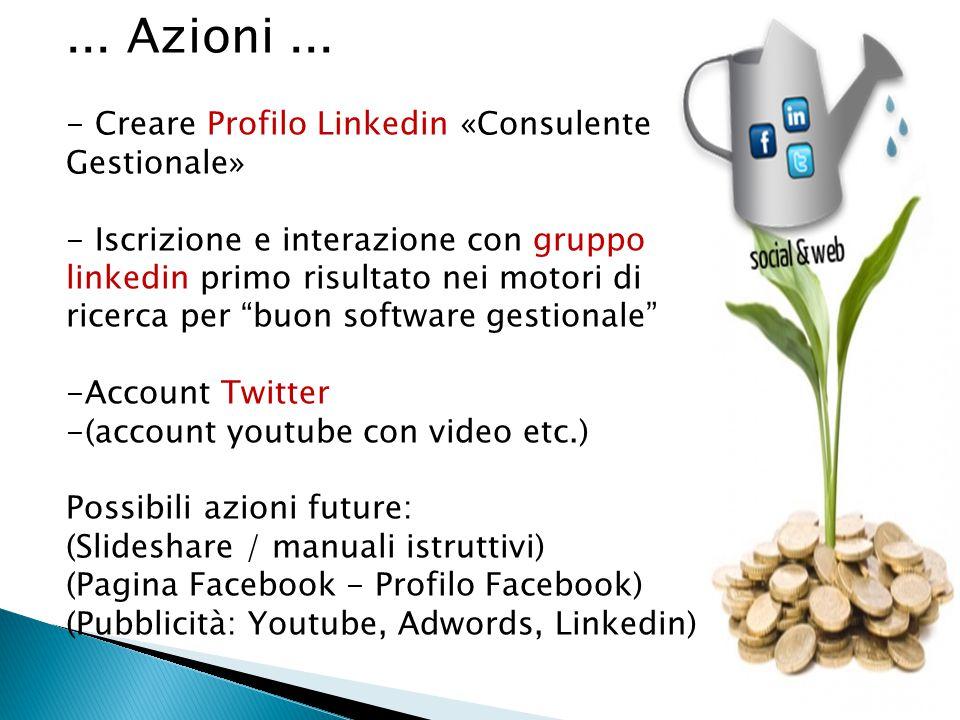 ... Azioni... - Creare Profilo Linkedin «Consulente Gestionale» - Iscrizione e interazione con gruppo linkedin primo risultato nei motori di ricerca p