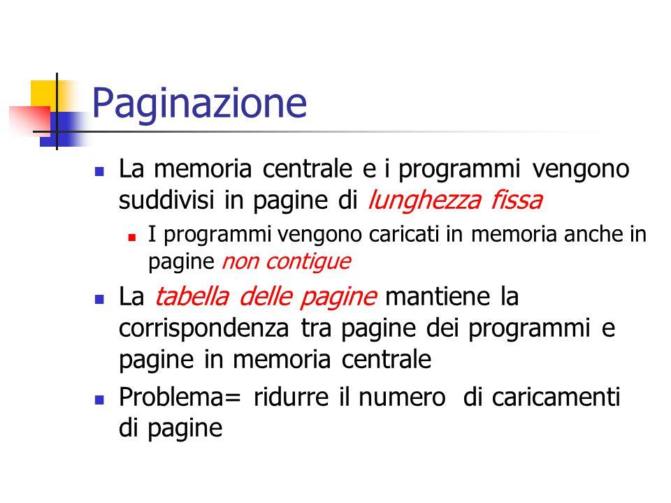 Paginazione La memoria centrale e i programmi vengono suddivisi in pagine di lunghezza fissa I programmi vengono caricati in memoria anche in pagine n