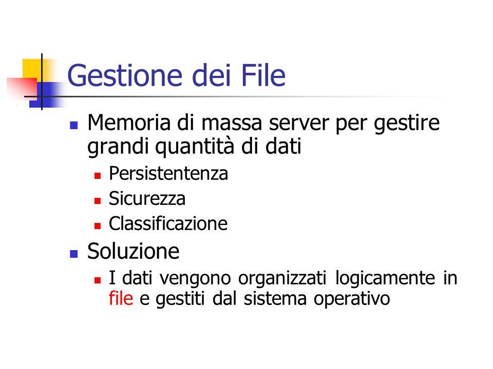 Gestione dei File Memoria di massa server per gestire grandi quantità di dati Persistentenza Sicurezza Classificazione Soluzione I dati vengono organi