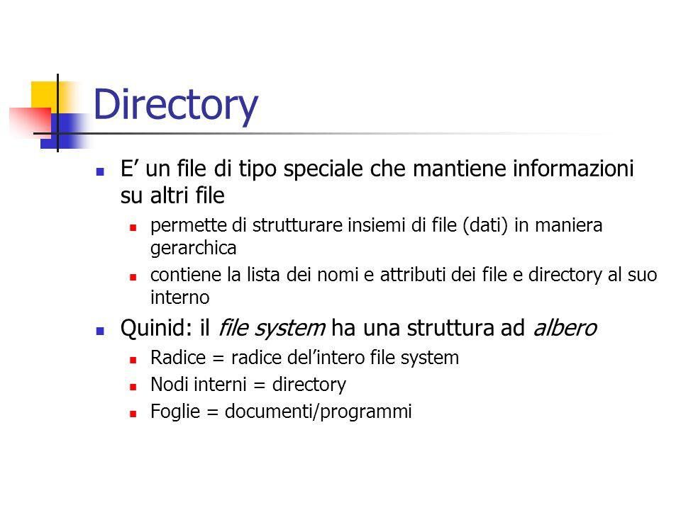 Directory E' un file di tipo speciale che mantiene informazioni su altri file permette di strutturare insiemi di file (dati) in maniera gerarchica con
