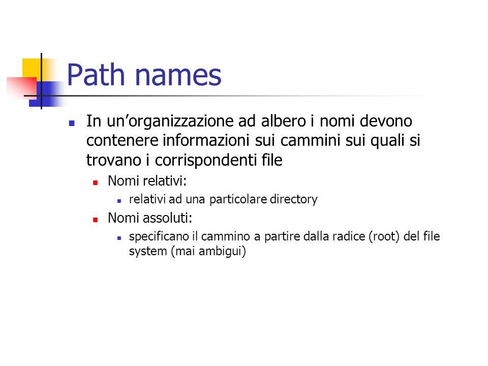 Path names In un'organizzazione ad albero i nomi devono contenere informazioni sui cammini sui quali si trovano i corrispondenti file Nomi relativi: r