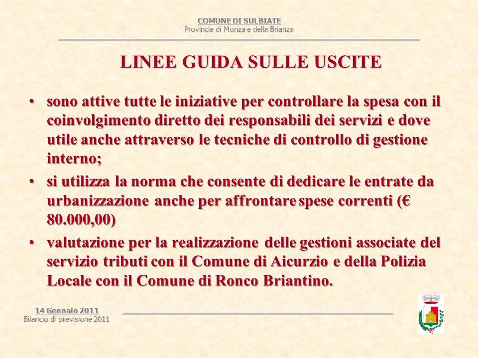 COMUNE DI SULBIATE Provincia di Monza e della Brianza 14 Gennaio 2011 Bilancio di previsione 2011 LINEE GUIDA SULLE USCITE sono attive tutte le inizia
