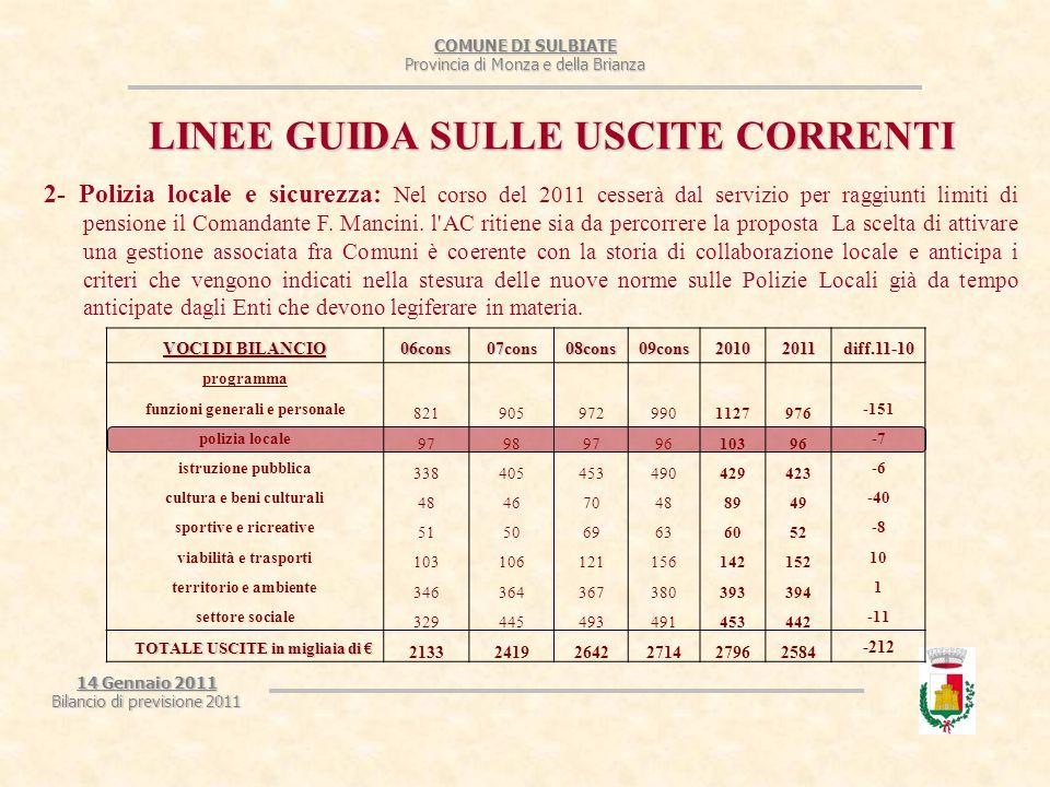 COMUNE DI SULBIATE Provincia di Monza e della Brianza 14 Gennaio 2011 Bilancio di previsione 2011 LINEE GUIDA SULLE USCITE CORRENTI 2- Polizia locale