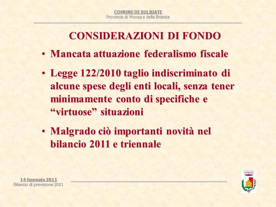 COMUNE DI SULBIATE Provincia di Monza e della Brianza Mancata attuazione federalismo fiscaleMancata attuazione federalismo fiscale Legge 122/2010 tagl