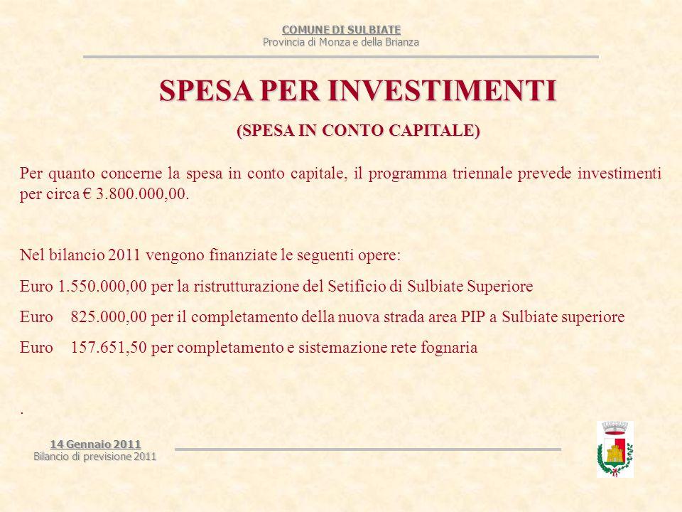 COMUNE DI SULBIATE Provincia di Monza e della Brianza 14 Gennaio 2011 Bilancio di previsione 2011 SPESA PER INVESTIMENTI (SPESA IN CONTO CAPITALE) Per quanto concerne la spesa in conto capitale, il programma triennale prevede investimenti per circa € 3.800.000,00.