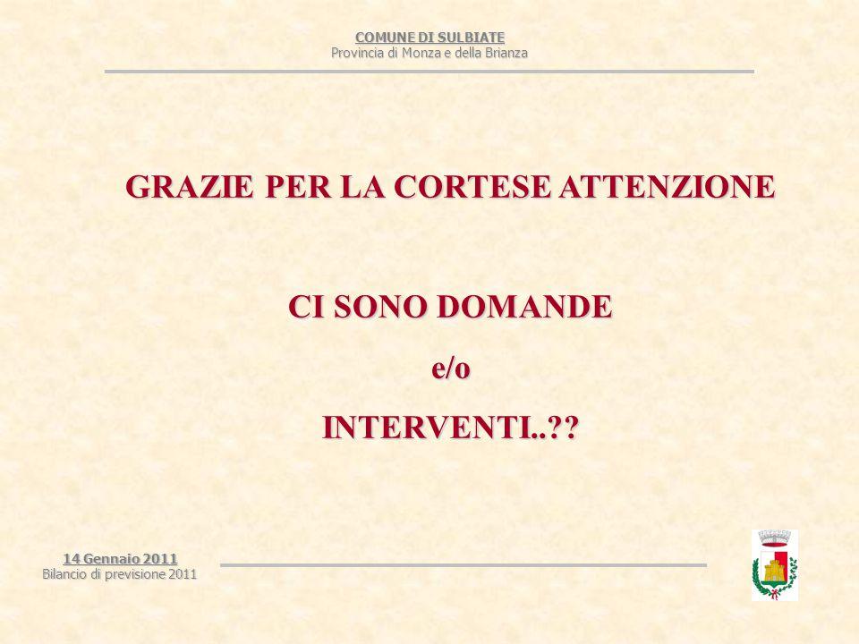 COMUNE DI SULBIATE Provincia di Monza e della Brianza 14 Gennaio 2011 Bilancio di previsione 2011 GRAZIE PER LA CORTESE ATTENZIONE CI SONO DOMANDE e/oINTERVENTI..