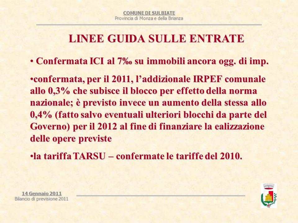 COMUNE DI SULBIATE Provincia di Monza e della Brianza 14 Gennaio 2011 Bilancio di previsione 2011 LINEE GUIDA SULLE ENTRATE Confermata ICI al 7‰ su immobili ancora ogg.