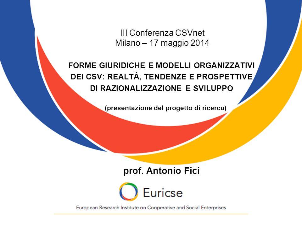 III Conferenza CSVnet Milano – 17 maggio 2014 FORME GIURIDICHE E MODELLI ORGANIZZATIVI DEI CSV: REALTÀ, TENDENZE E PROSPETTIVE DI RAZIONALIZZAZIONE E SVILUPPO (presentazione del progetto di ricerca) prof.