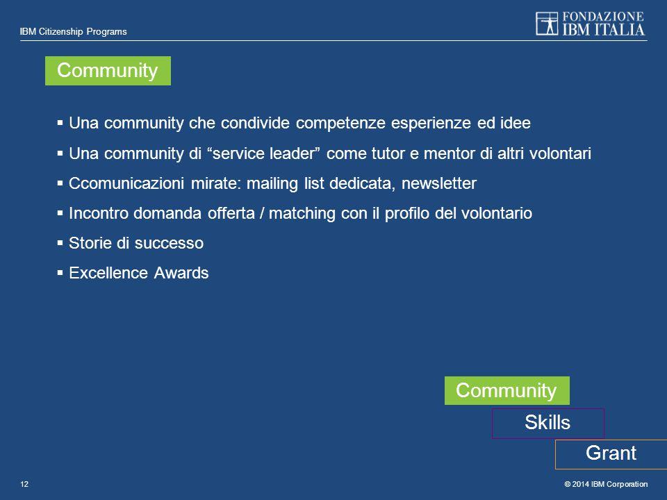 """© 2014 IBM Corporation IBM Citizenship Programs 12  Una community che condivide competenze esperienze ed idee  Una community di """"service leader"""" com"""
