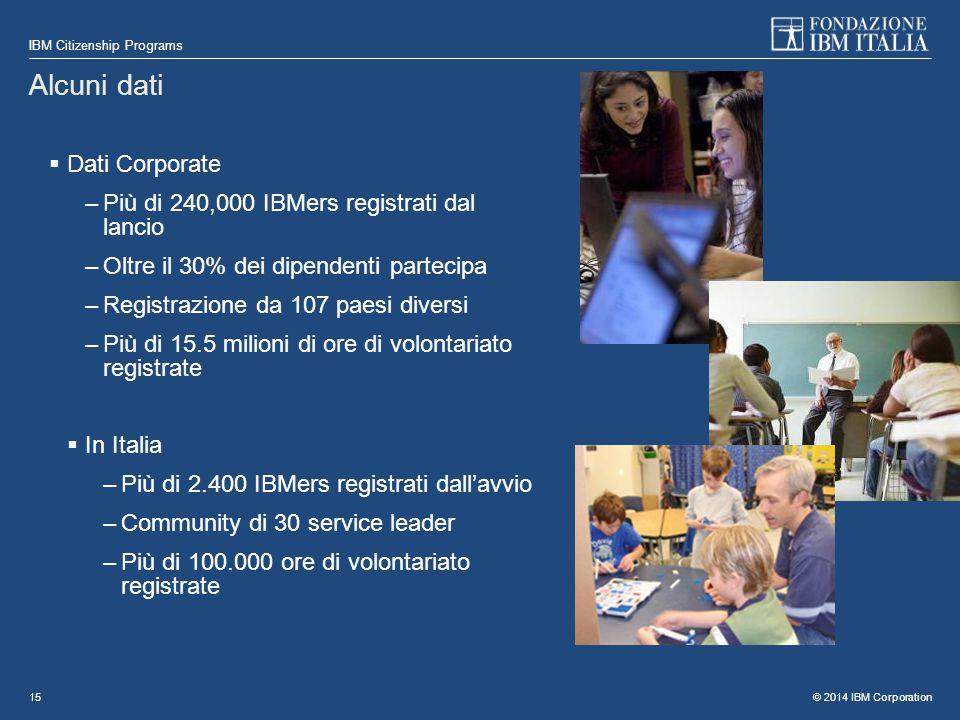 © 2014 IBM Corporation IBM Citizenship Programs 15 Alcuni dati  Dati Corporate –Più di 240,000 IBMers registrati dal lancio –Oltre il 30% dei dipende