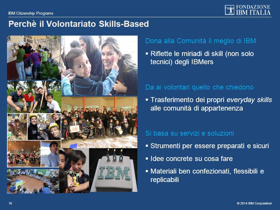 © 2014 IBM Corporation IBM Citizenship Programs 16 Perchè il Volontariato Skills-Based Dona alla Comunità il meglio di IBM  Riflette le miriadi di sk