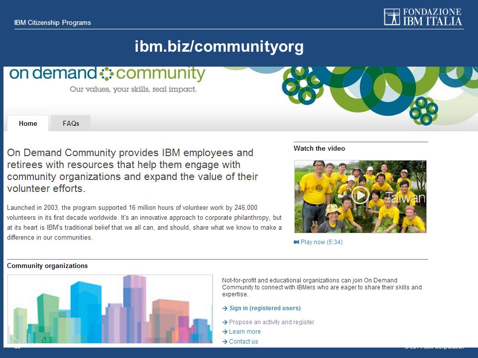 © 2014 IBM Corporation IBM Citizenship Programs 30 ibm.biz/communityorg