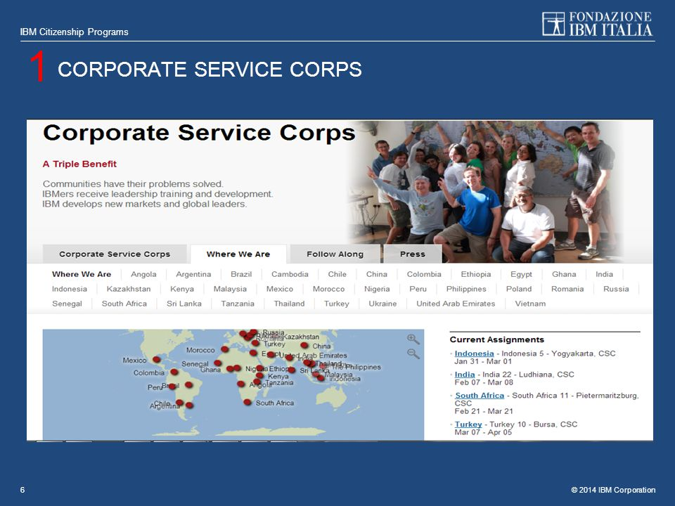 © 2014 IBM Corporation IBM Citizenship Programs 6 CORPORATE SERVICE CORPS 1