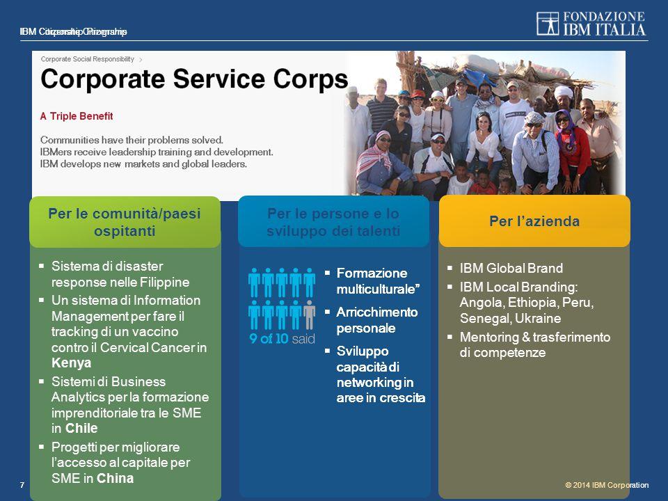 © 2014 IBM Corporation IBM Citizenship Programs 77  Sistema di disaster response nelle Filippine  Un sistema di Information Management per fare il t