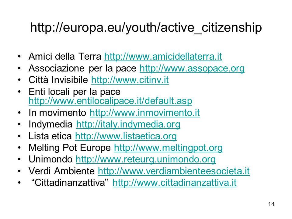14 http://europa.eu/youth/active_citizenship Amici della Terra http://www.amicidellaterra.ithttp://www.amicidellaterra.it Associazione per la pace htt