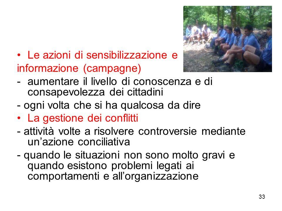33 Le azioni di sensibilizzazione e informazione (campagne) -aumentare il livello di conoscenza e di consapevolezza dei cittadini - ogni volta che si