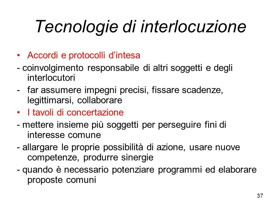 37 Tecnologie di interlocuzione Accordi e protocolli d'intesa - coinvolgimento responsabile di altri soggetti e degli interlocutori -far assumere impe