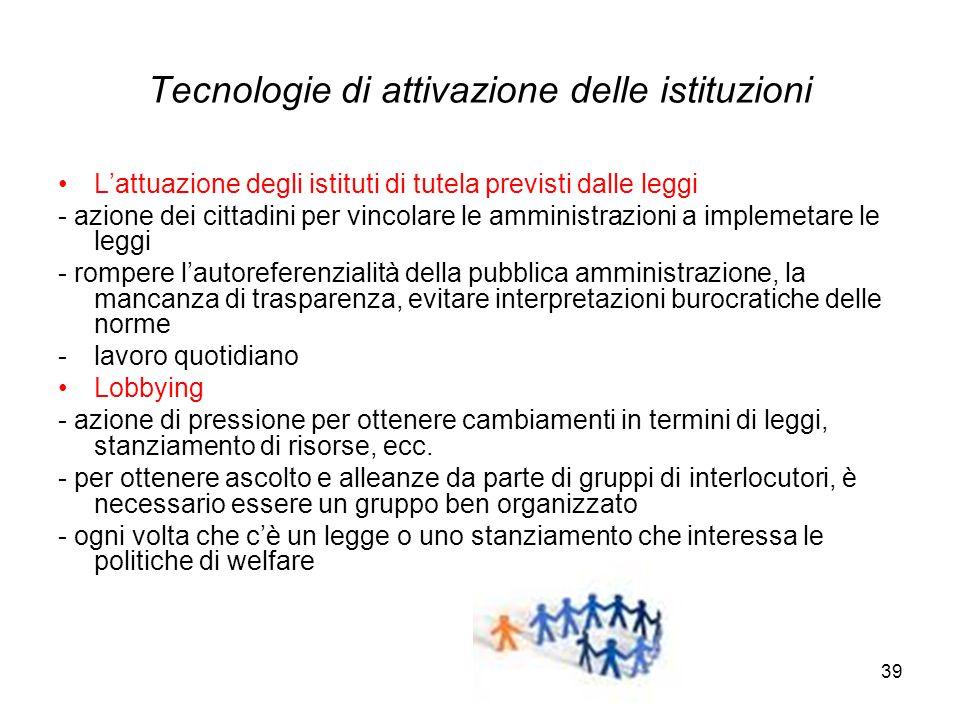39 Tecnologie di attivazione delle istituzioni L'attuazione degli istituti di tutela previsti dalle leggi - azione dei cittadini per vincolare le ammi
