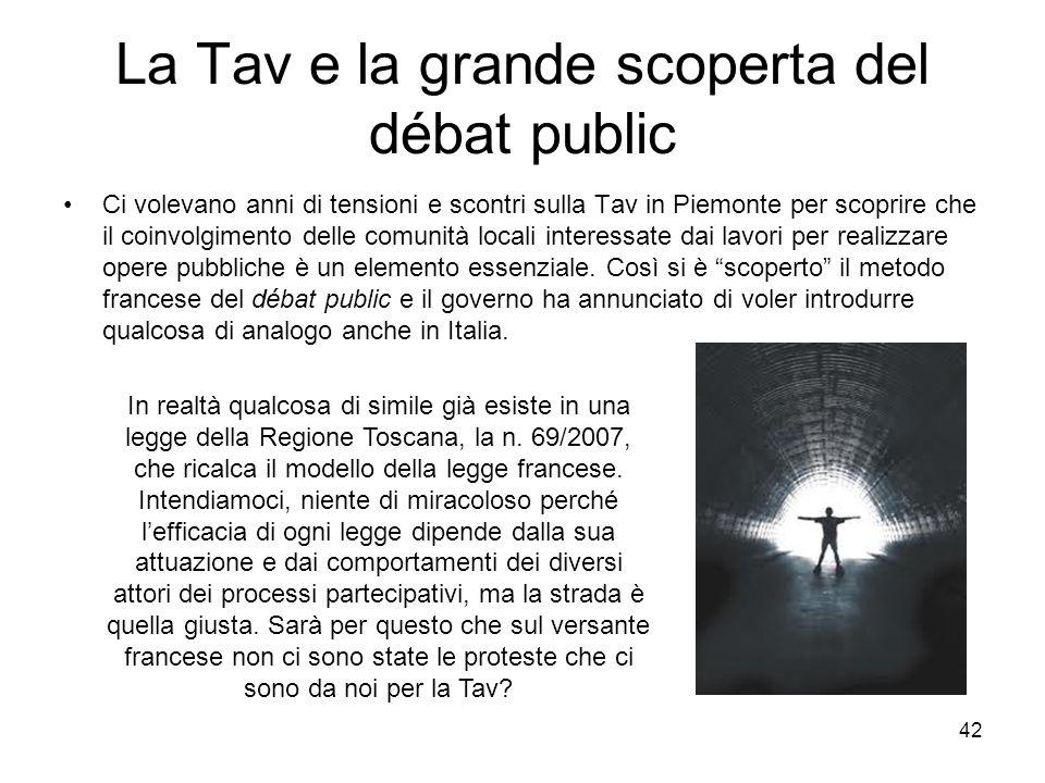 42 La Tav e la grande scoperta del débat public Ci volevano anni di tensioni e scontri sulla Tav in Piemonte per scoprire che il coinvolgimento delle
