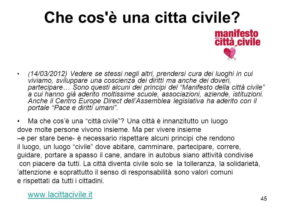 45 Che cos'è una citta civile? ( 14/03/2012) Vedere se stessi negli altri, prendersi cura dei luoghi in cui viviamo, sviluppare una coscienza dei diri