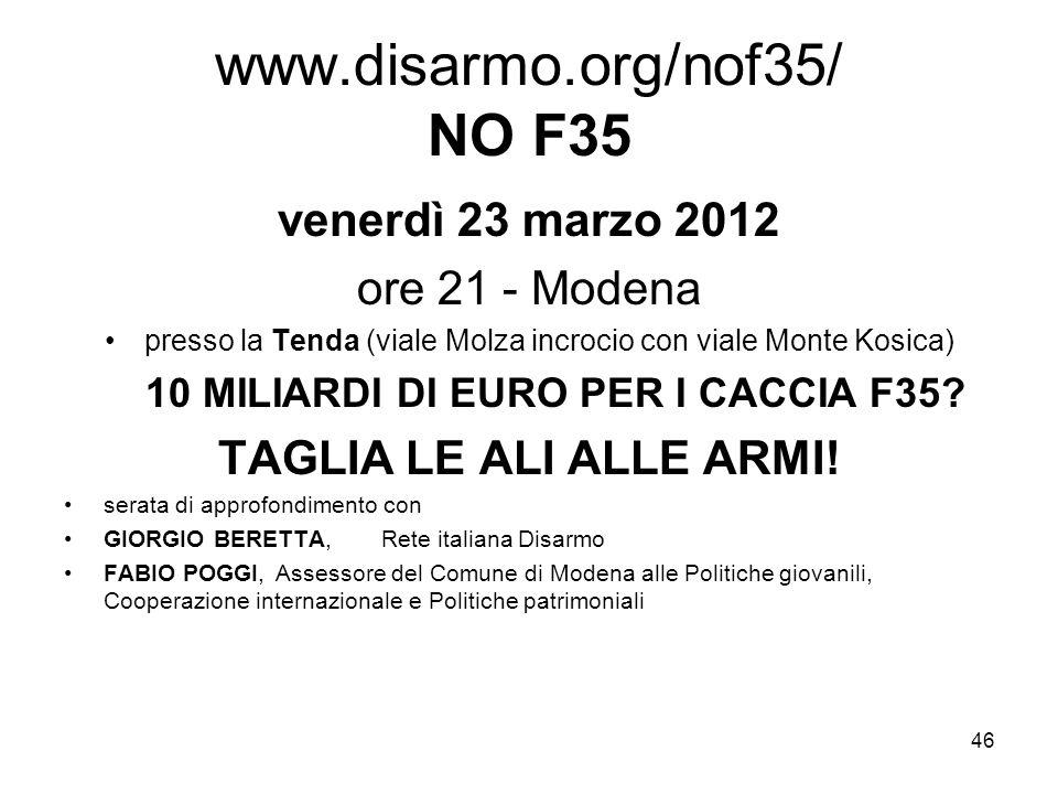 46 www.disarmo.org/nof35/ NO F35 venerdì 23 marzo 2012 ore 21 - Modena presso la Tenda (viale Molza incrocio con viale Monte Kosica) 10 MILIARDI DI EU