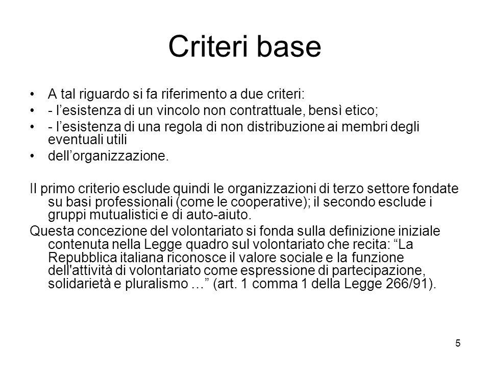 5 Criteri base A tal riguardo si fa riferimento a due criteri: - l'esistenza di un vincolo non contrattuale, bensì etico; - l'esistenza di una regola