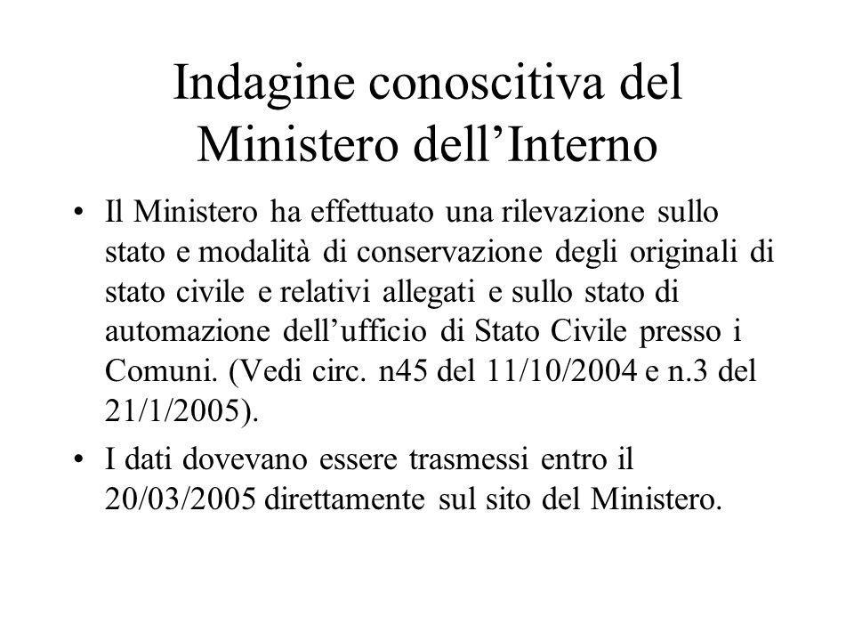 Indagine conoscitiva del Ministero dell'Interno Il Ministero ha effettuato una rilevazione sullo stato e modalità di conservazione degli originali di
