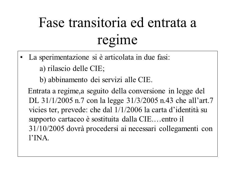 Fase transitoria ed entrata a regime La sperimentazione si è articolata in due fasi: a) rilascio delle CIE; b) abbinamento dei servizi alle CIE. Entra