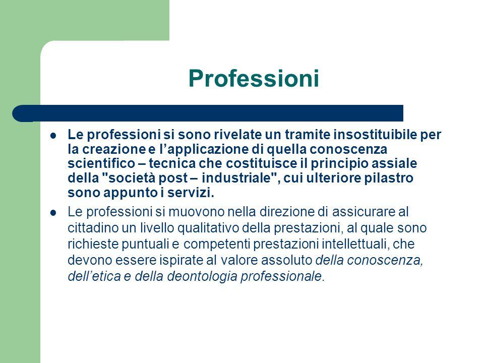 Professioni Le professioni si sono rivelate un tramite insostituibile per la creazione e l'applicazione di quella conoscenza scientifico – tecnica che