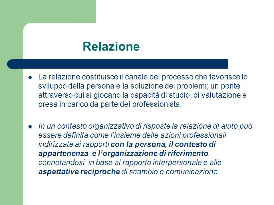 La relazione costituisce il canale del processo che favorisce lo sviluppo della persona e la soluzione dei problemi; un ponte attraverso cui si giocan