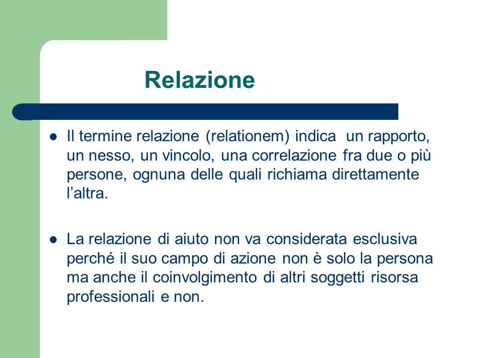 Il termine relazione (relationem) indica un rapporto, un nesso, un vincolo, una correlazione fra due o più persone, ognuna delle quali richiama dirett