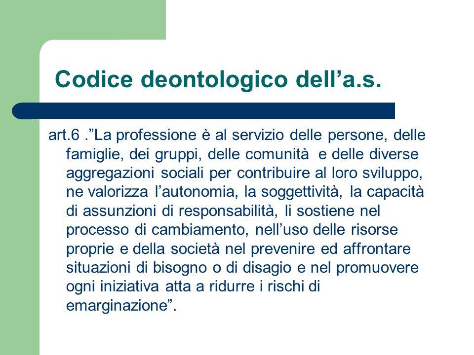 """art.6.""""La professione è al servizio delle persone, delle famiglie, dei gruppi, delle comunità e delle diverse aggregazioni sociali per contribuire al"""