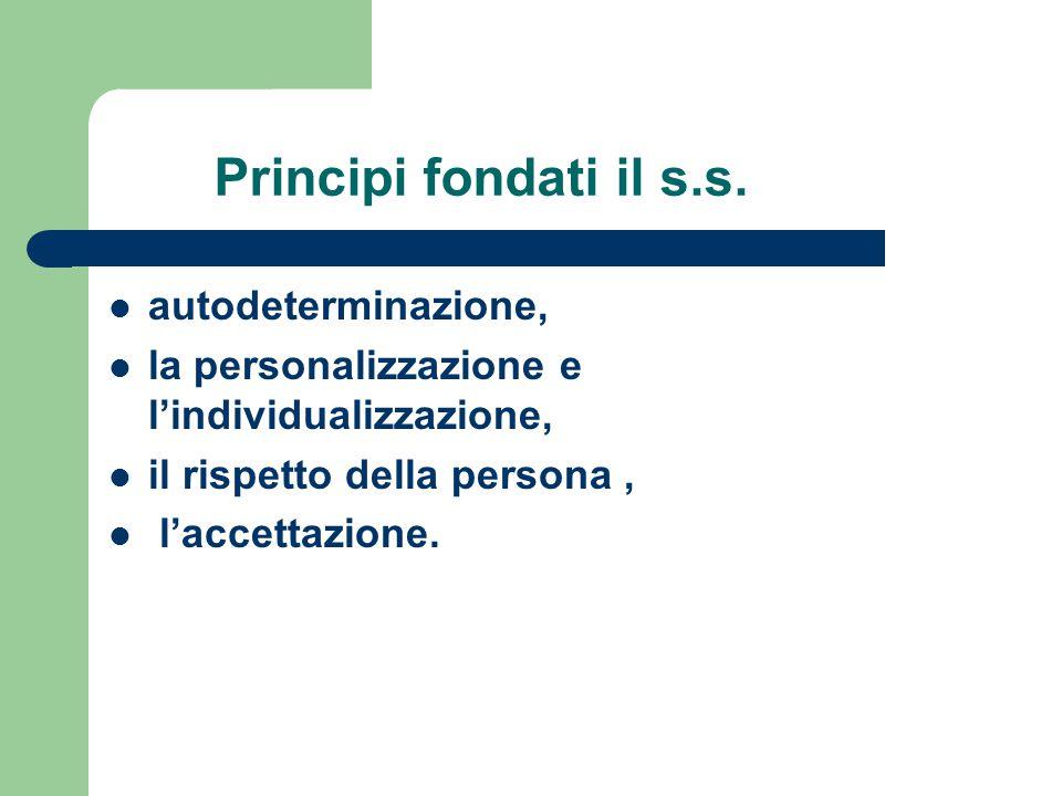 Principi fondati il s.s. autodeterminazione, la personalizzazione e l'individualizzazione, il rispetto della persona, l'accettazione.