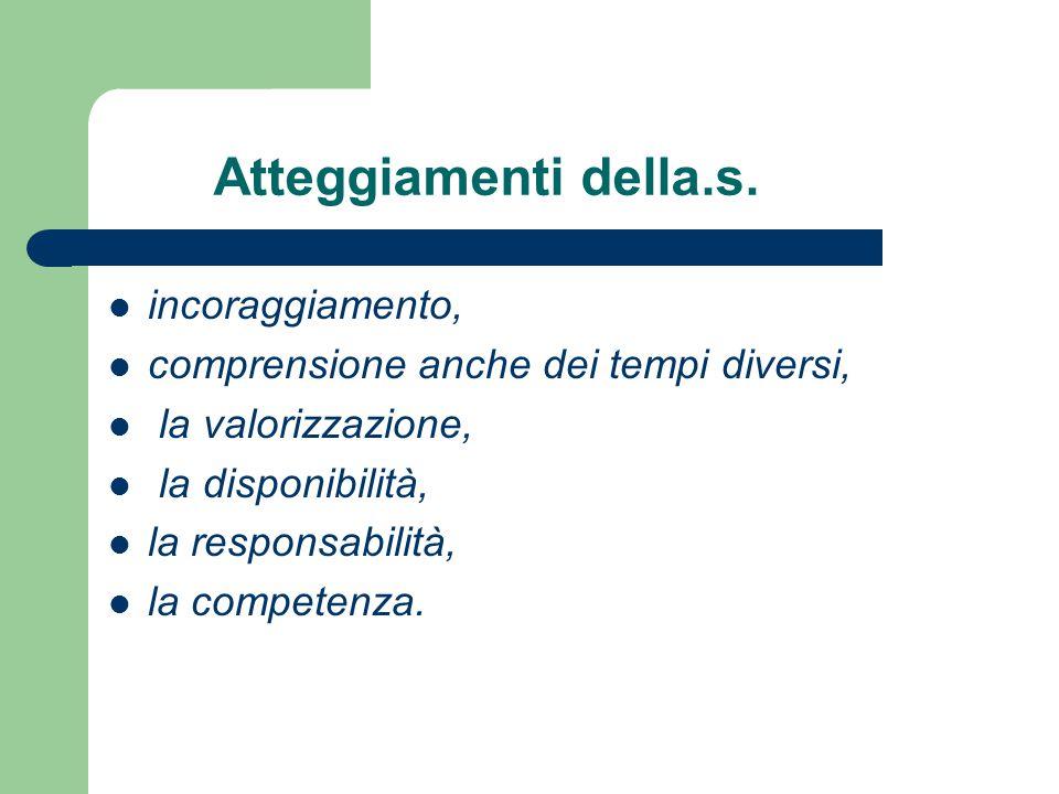 Atteggiamenti della.s. incoraggiamento, comprensione anche dei tempi diversi, la valorizzazione, la disponibilità, la responsabilità, la competenza.