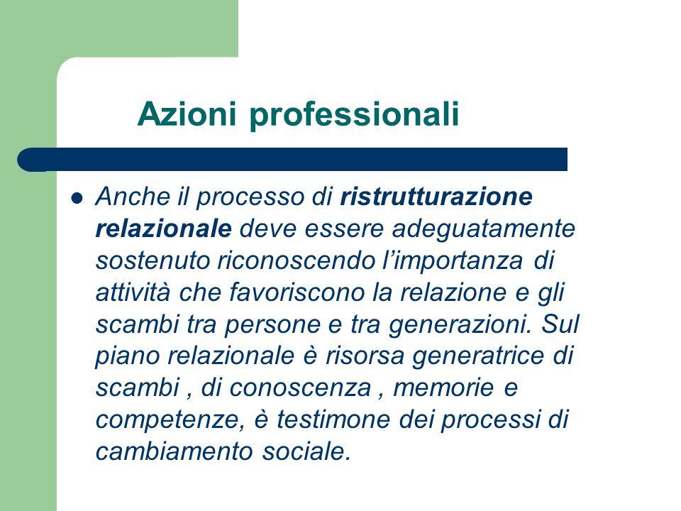 Azioni professionali Anche il processo di ristrutturazione relazionale deve essere adeguatamente sostenuto riconoscendo l'importanza di attività che f