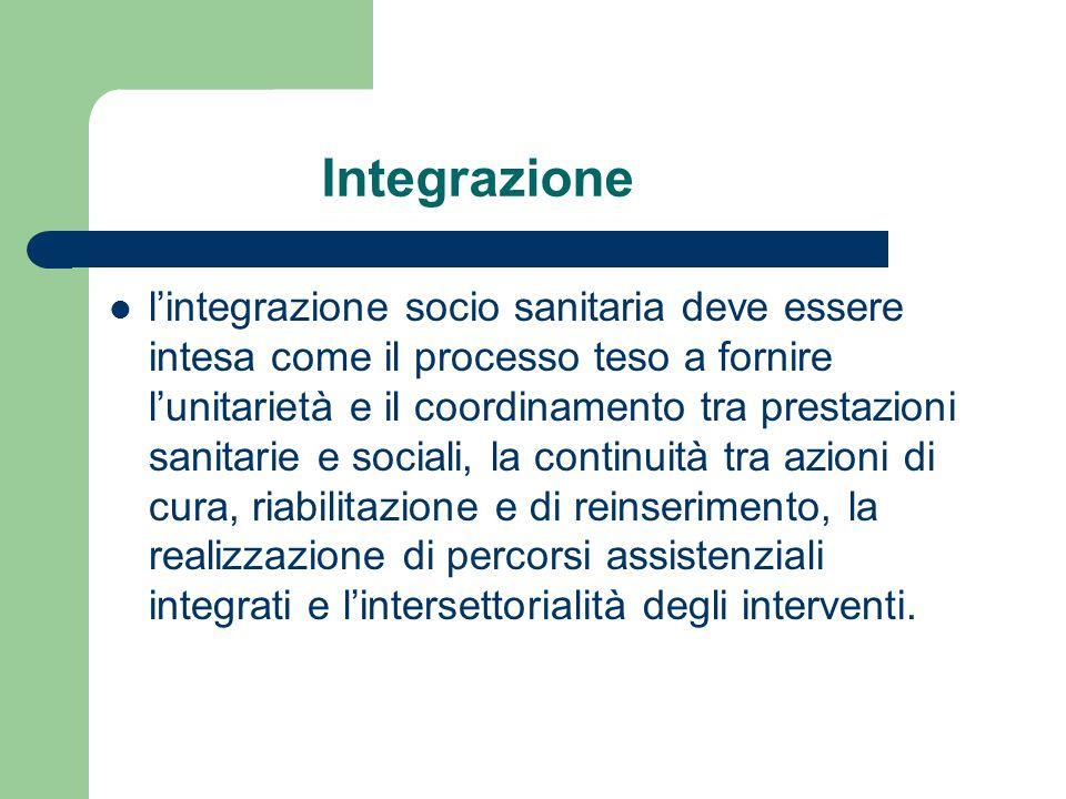 Integrazione l'integrazione socio sanitaria deve essere intesa come il processo teso a fornire l'unitarietà e il coordinamento tra prestazioni sanitar