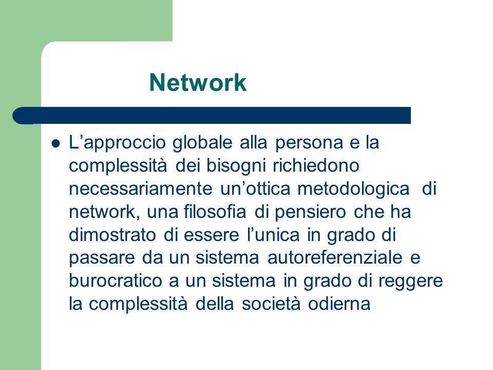 Network L'approccio globale alla persona e la complessità dei bisogni richiedono necessariamente un'ottica metodologica di network, una filosofia di p