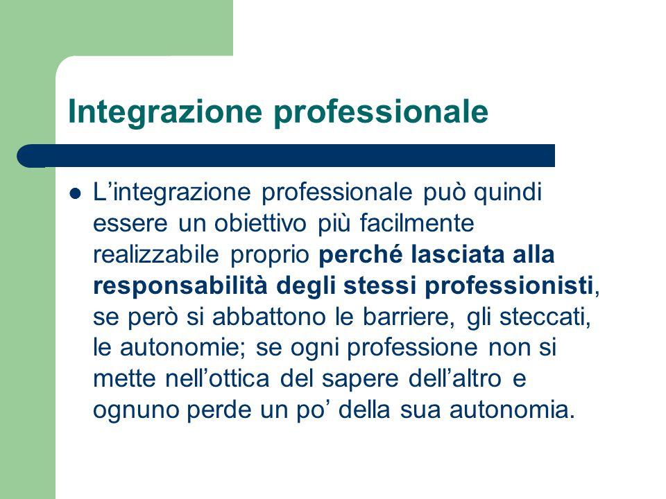 Integrazione professionale L'integrazione professionale può quindi essere un obiettivo più facilmente realizzabile proprio perché lasciata alla respon