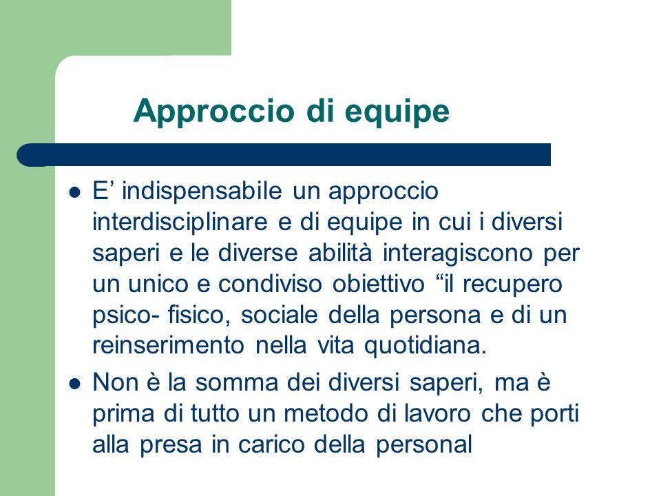 Approccio di equipe E' indispensabile un approccio interdisciplinare e di equipe in cui i diversi saperi e le diverse abilità interagiscono per un uni