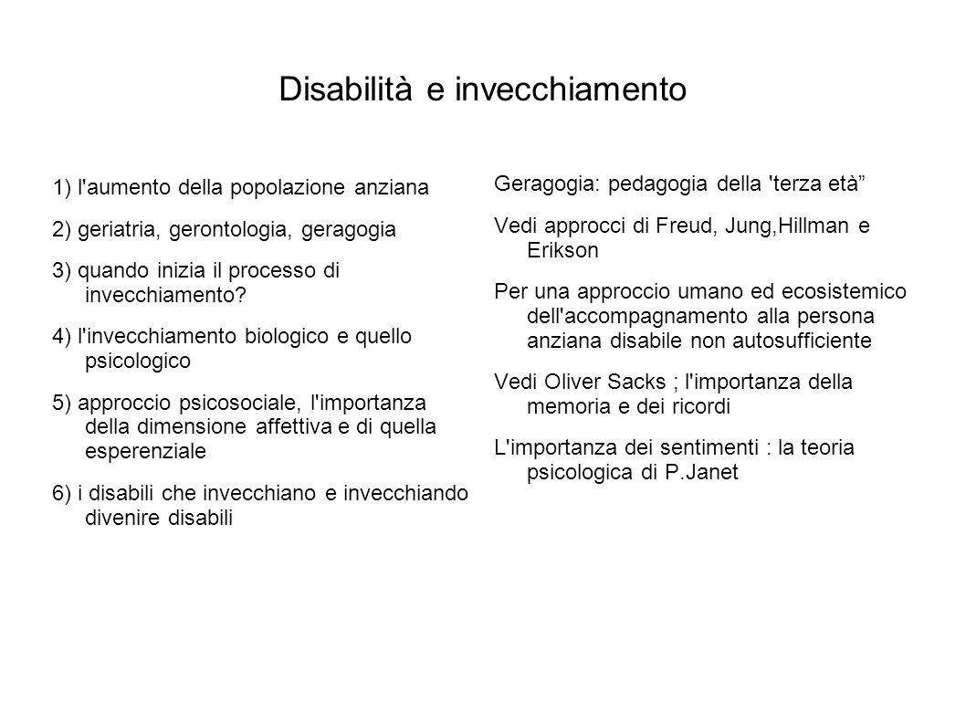 Disabilità e invecchiamento 1) l aumento della popolazione anziana 2) geriatria, gerontologia, geragogia 3) quando inizia il processo di invecchiamento.
