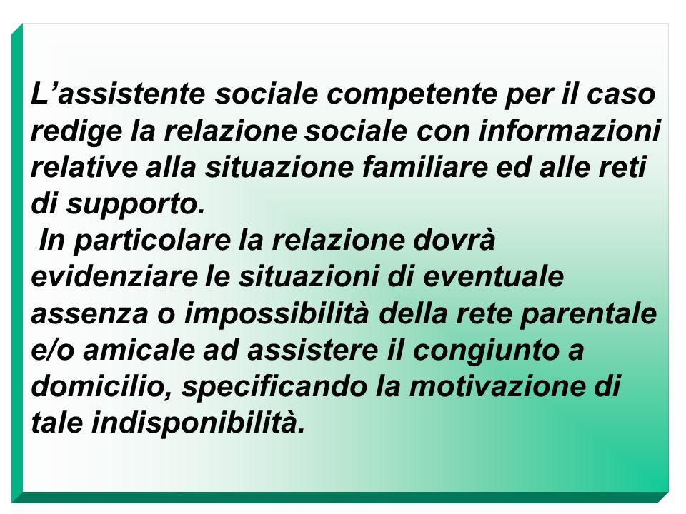 L'assistente sociale competente per il caso redige la relazione sociale con informazioni relative alla situazione familiare ed alle reti di supporto.