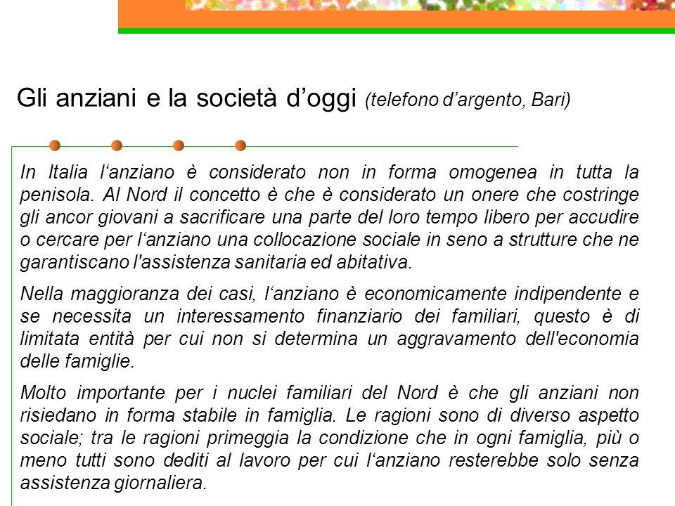 28 Gli anziani e la società d'oggi (telefono d'argento, Bari) In Italia l'anziano è considerato non in forma omogenea in tutta la penisola. Al Nord il