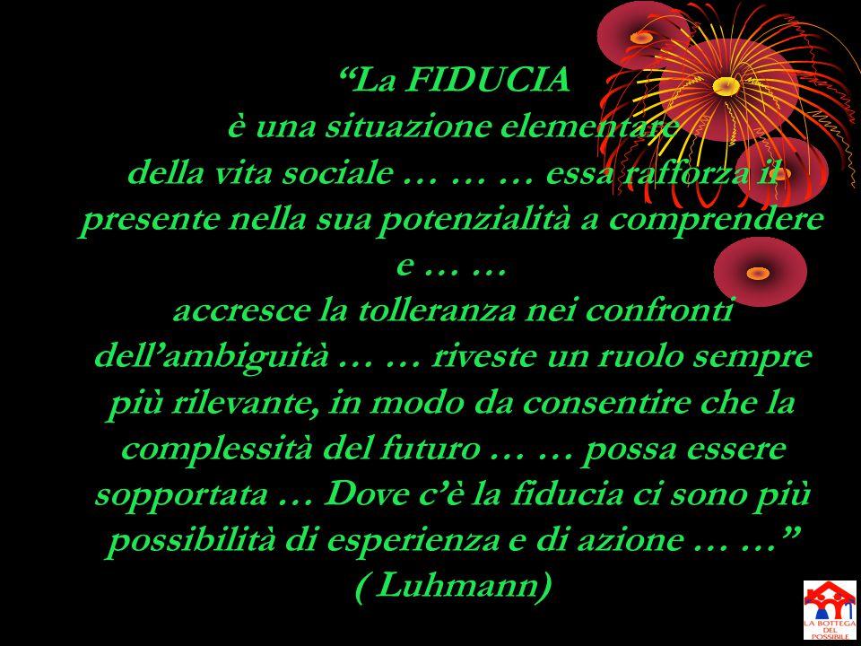 La FIDUCIA è una situazione elementare della vita sociale … … … essa rafforza il presente nella sua potenzialità a comprendere e … … accresce la tolleranza nei confronti dell'ambiguità … … riveste un ruolo sempre più rilevante, in modo da consentire che la complessità del futuro … … possa essere sopportata … Dove c'è la fiducia ci sono più possibilità di esperienza e di azione … … ( Luhmann)