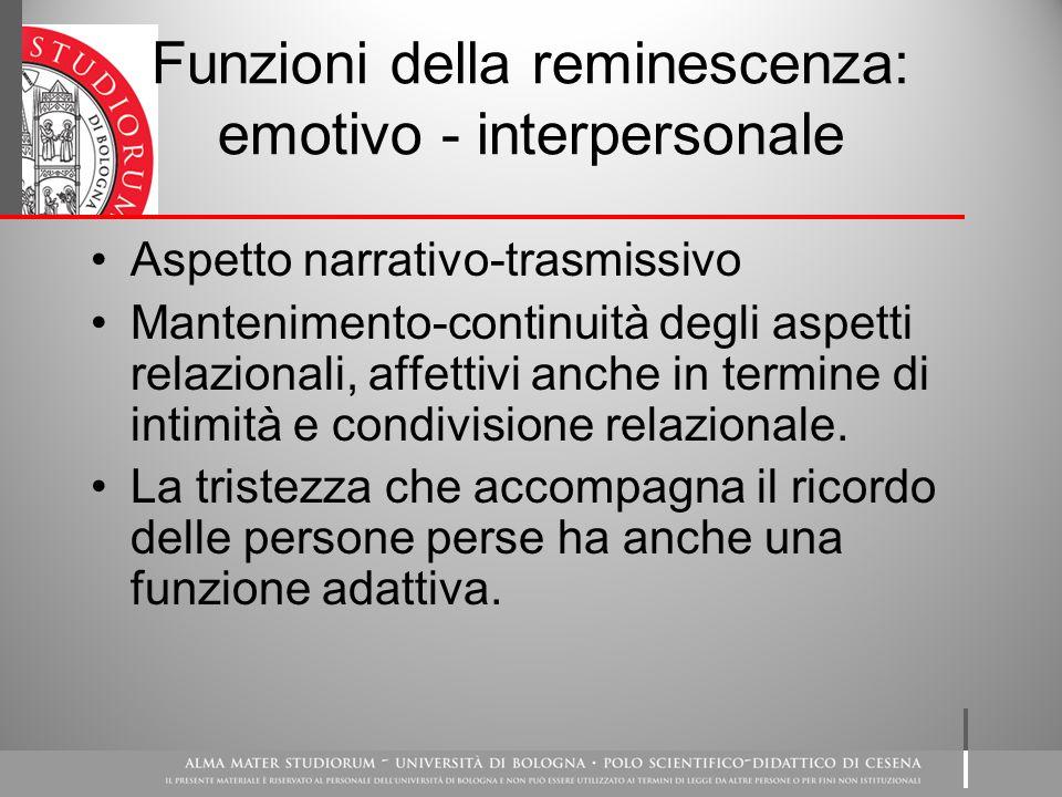 Funzioni della reminescenza: emotivo - interpersonale Aspetto narrativo-trasmissivo Mantenimento-continuità degli aspetti relazionali, affettivi anche in termine di intimità e condivisione relazionale.